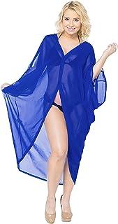 LA LEELA Women`s Beach Blouse Tops Kimono Cardigan Bikini Cover Ups Solid Plain