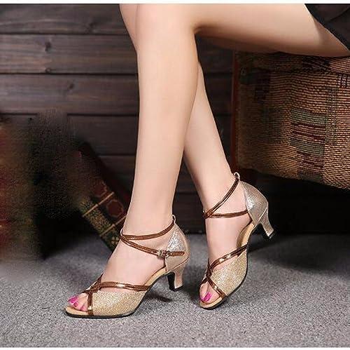 Masocking@ Femme Chaussures de Danse Sandales Design Moderne et de l'été Bas Paillettes