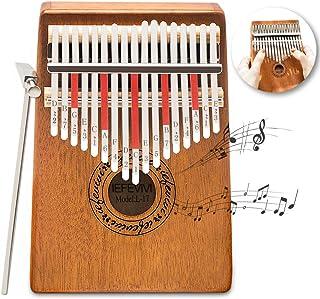 IEFEVIVI Kalimba 17 Key Thumb Piano - Thumb Pianos 17 Keys Mbira Kalimbas Made by Solid Mahogany with Tuning Hammer, Porta...