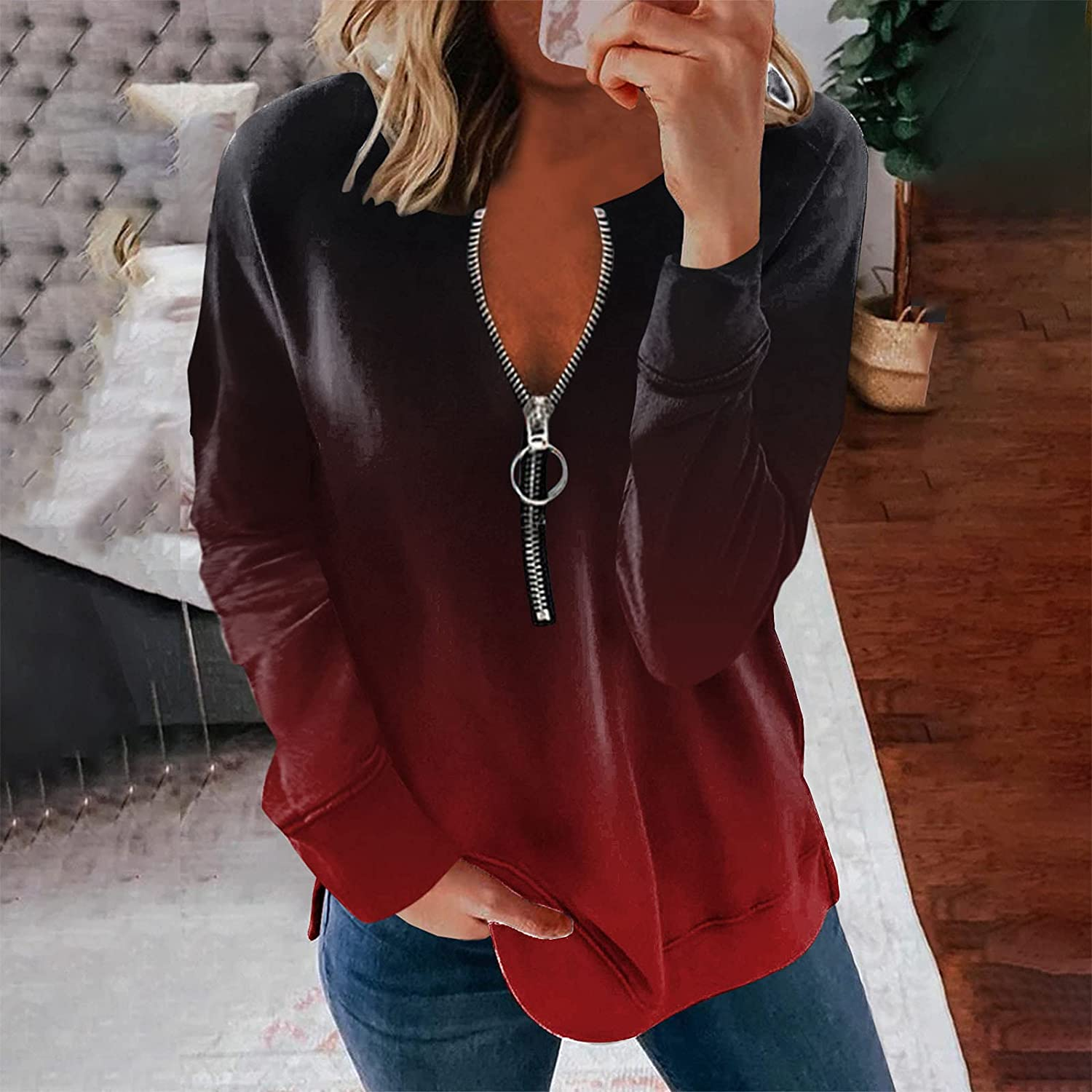 Long Sleeve Blouse for Women, Zip Up Gradient Casual V Neck Sweatshirts Slim Fit Pullover Tops Tunic Shirts