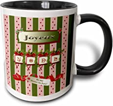 3dRose (mug_130900_4) Joyeux Noel with Red BowS and Pine Swag, To My Sister in Law - Two Tone Black Mug, 11oz