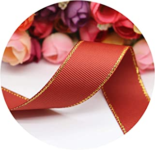 10 Yards 10MM/25MM/38MM Glitter Gold Edge Grosgrain Ribbon for Hair Bows/Gift Packaging DIY Handmade Materials Y19042101,780,Width 38MM