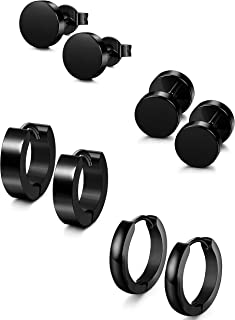 4 Pairs Stainless Steel Stud Earrings for Men Women Hoop Earrings Huggie Piercing 18G