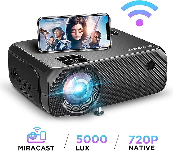 Proyector WiFi 2020 Actualizado BOMAKER 5000 Lúmenes Resolución Nativa 720P Inalámbrico Mini Cine en Casa Portátil Soporte Full HD 1080P Pantalla de 300 Pulgadas HDMI/USB/VGA/AV/Micro SD GC355