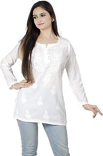 Cotton Short Top Kurti Lucknowi Chikankari Ethnic Casual Wear Kurta Kurti Top