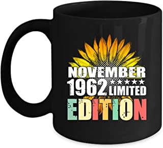 echip Ceramic Coffee Mug 11oz Birthday Gift Sunflower Vintage November 1962 Limited Edition Personalized Gift For Daddy Mommy Son Daughter Grandma Grandpa Kids Gift On Anniversary - Black Tea Cup