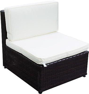 Yescom Outdoor PE Rattan Wicker Armless Sofa Chair Seat Cushioned UV Protection Patio Garden Backyard Furniture