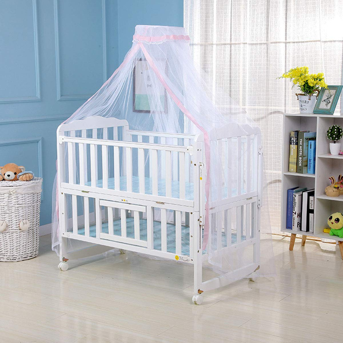 DaMohony Baby Mosquito Net, Crib Dome Net Child Newborn Foldable Mosquito Mesh Net Bed Canopy Portable Travel Camping Curtain for Home Outdoor