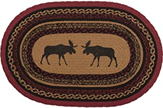 VHC Brands Cumberland Rustic Kitchen Rug, Cozy Natural & Dyed Jute Moose Pattern Tan Entryway Doormat Oval 20x30