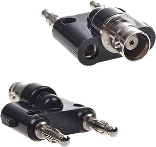 BCP 2pcs BNC Female Jack to Dual Banana Male Plug Coaxial Adapter