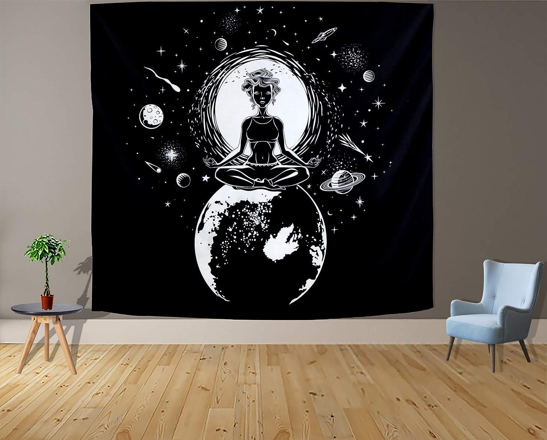 Black White Tapestry Wall Hanging for Bedroom Moon Aesthetic Mystic Chakra Meditation Planet Wall Tapestry Decor Decoration for Living Room Backdrop Dorm