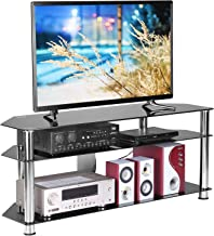 Rfiver Floor Corner Glass TV Stand with Cable Management for TVs up to 60