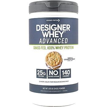 Designer Protein Designer Whey Grass Fed Protein Powder, Vanilla Cookies & Cream, 1.85 Pound, Non GMO, Made in the USA