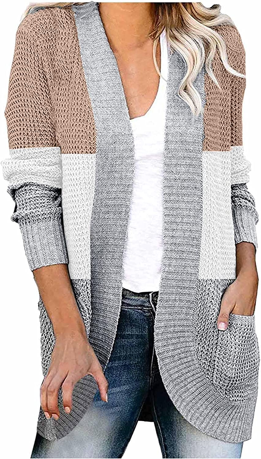 Womens Classic Draped Cardigans,Long Sleeve Lightweight Open Front Loose Chunky Knit Cardigan Sweaters Coat Soft Outwear