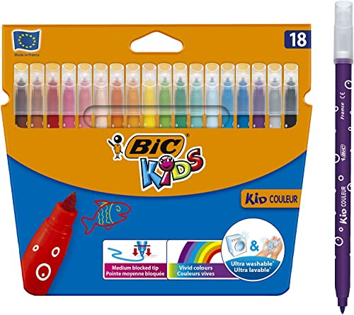 BIC 937508 Kids Couleur Felt Tip Colouring Pens Medium Point - Assorted Colours, Pack of 18 Markers