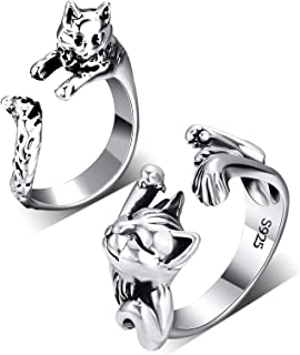 2 Pieces Cat Rings Vintage Cute Animal Matching Cat Rings Silver Adjustable Cat Paws Tails Open Rings for Women Men Cat Lo...