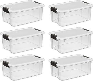STERILITE Ultra Caja de Almacenamiento, Blanco Tapa Ver-Through Base con Titanio pestillos, Pack de 6
