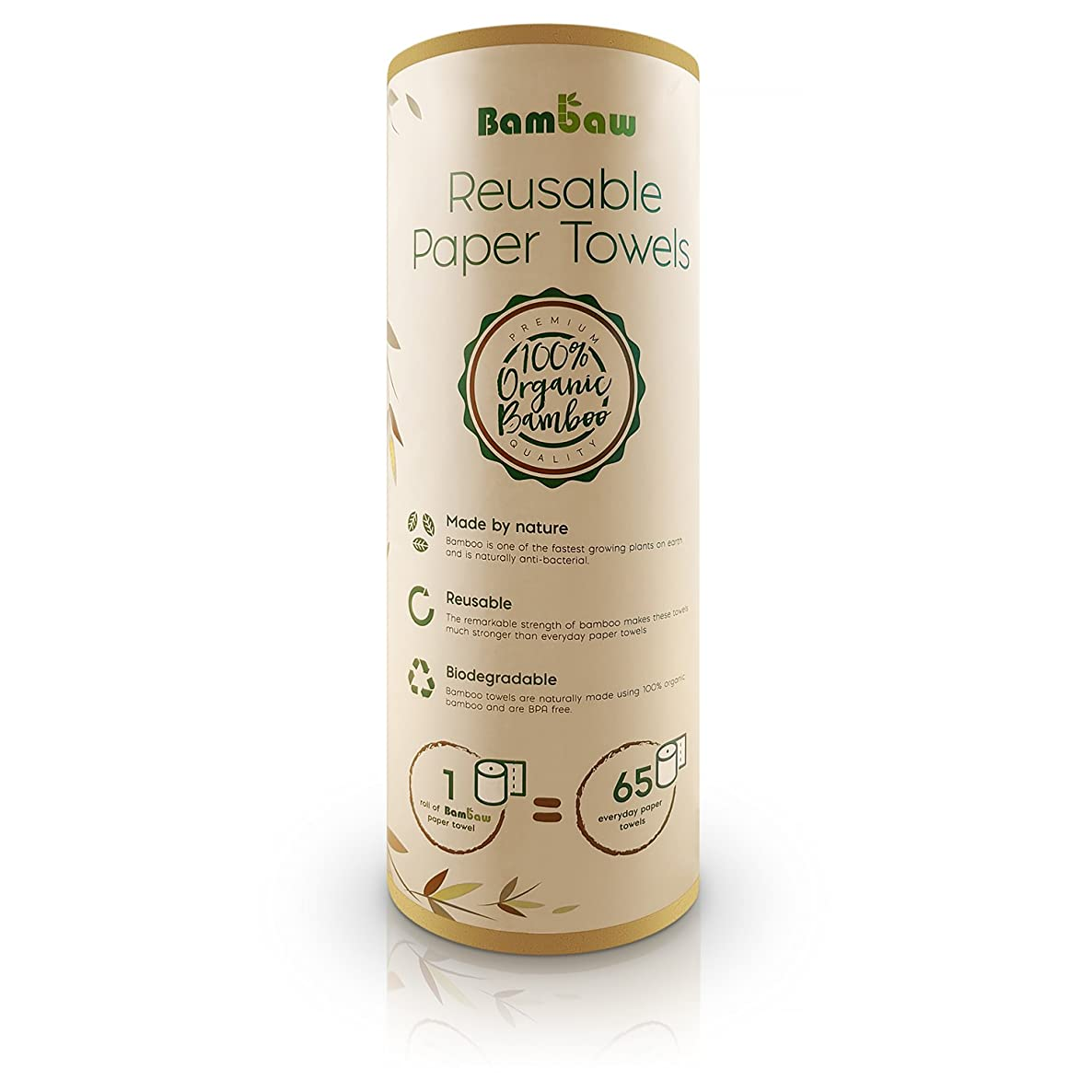 Reusable Paper Towel   Bamboo Eco kitchen roll   Multipurpose   Strong, Thick and Absorbent  100% Organic   Soft on Skin   Quick Dry and Antibacterial   20 Reusable Sheets   Bambaw