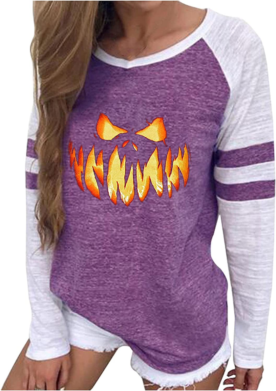 Halloween Women Funny Print Sweatshirt Casual Crewneck Long Sleeve Tops Trendy Color Block Pullover Loose Workout Tee