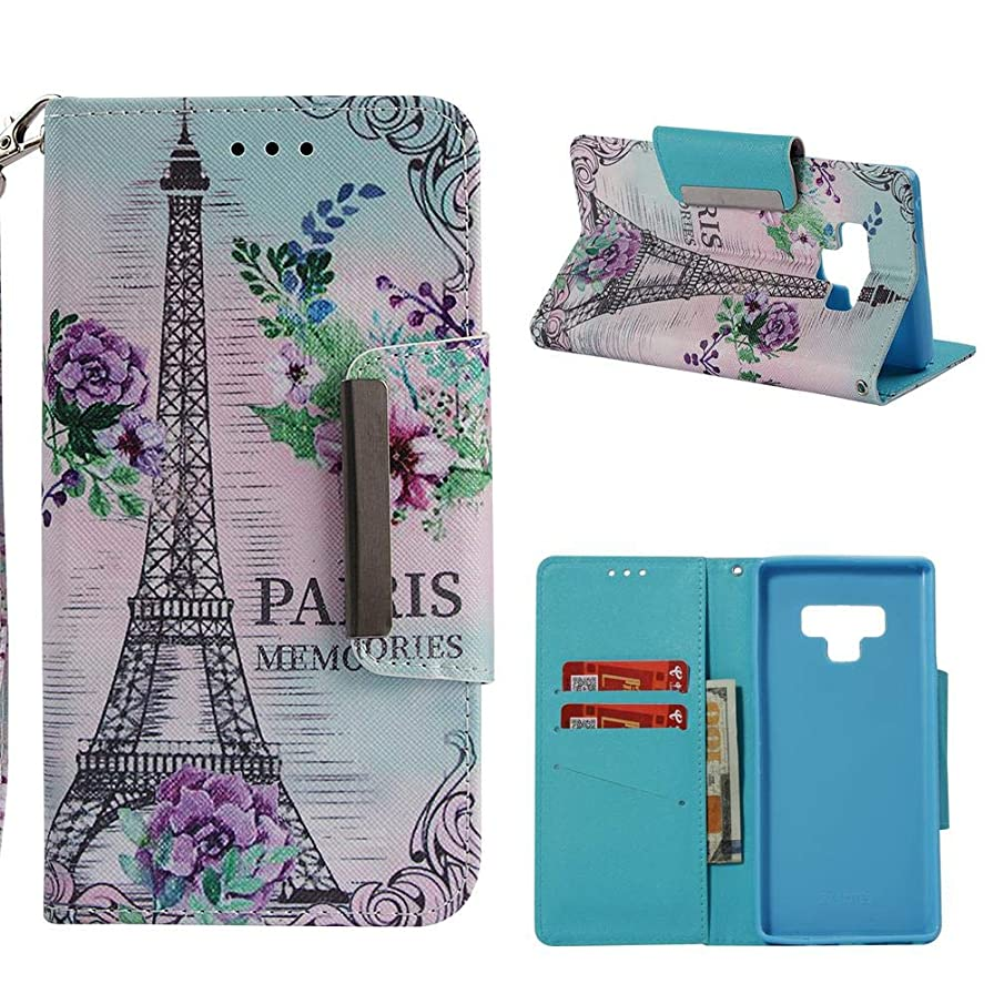 Firefish Galaxy Note 9 Case,Slim Flip 3D Printing Wallet Cover [Kickstand] Case [Shock Absorbent] Inner Soft Bumper Magnetic Cover Credit Card Holder for Samsung Galaxy Note 9 -Eiffel Tower