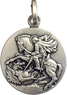 """Medaglietta"""" San Giorgio"""" In Argento Massiccio 925-925 Sterling Silver Saint George Medal"""