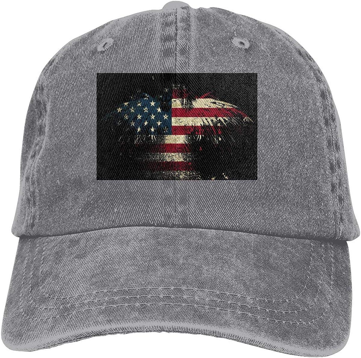 Eagle American Flag Denim Hat Adjustable Plain Cap Baseball Caps