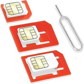 Wicked Chili 4 in 1 Sim Karten Adapter Set (Nano, Micro, Standard, Eject Pin) für Handy, Smartphone und Tablet (passgenau, Click-Sicherung)