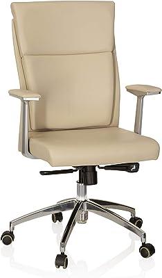 hjh OFFICE 600520 silla ejecutiva MONZA 10 cuero beige silla inclinable con brazos silla giratoria elegante con ruedas