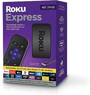 Roku Express - Streaming player Full HD. Transforma sua TV em Smart TV. Com controle remoto e cabo HDMI incluídos.