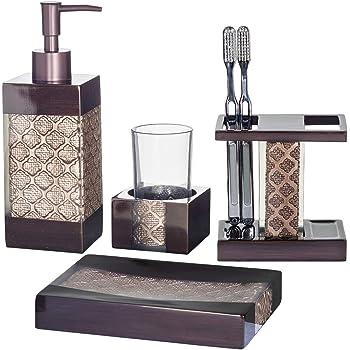 Dahlia 4-Piece Bathroom Accessories Set | Decorative Bath Accessory Kit with Soap Dispenser, Toothbrush Holder, Soap Dish, and Tumbler | Rust-Resistant Bath Ensemble Set | Elegant Decoration Ideas