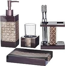 Dahlia 4-Piece Bathroom Accessories Set   Decorative Bath Accessory Kit with Soap Dispenser, Toothbrush Holder, Soap Dish, and Tumbler   Rust-Resistant Bath Ensemble Set   Elegant Decoration Ideas