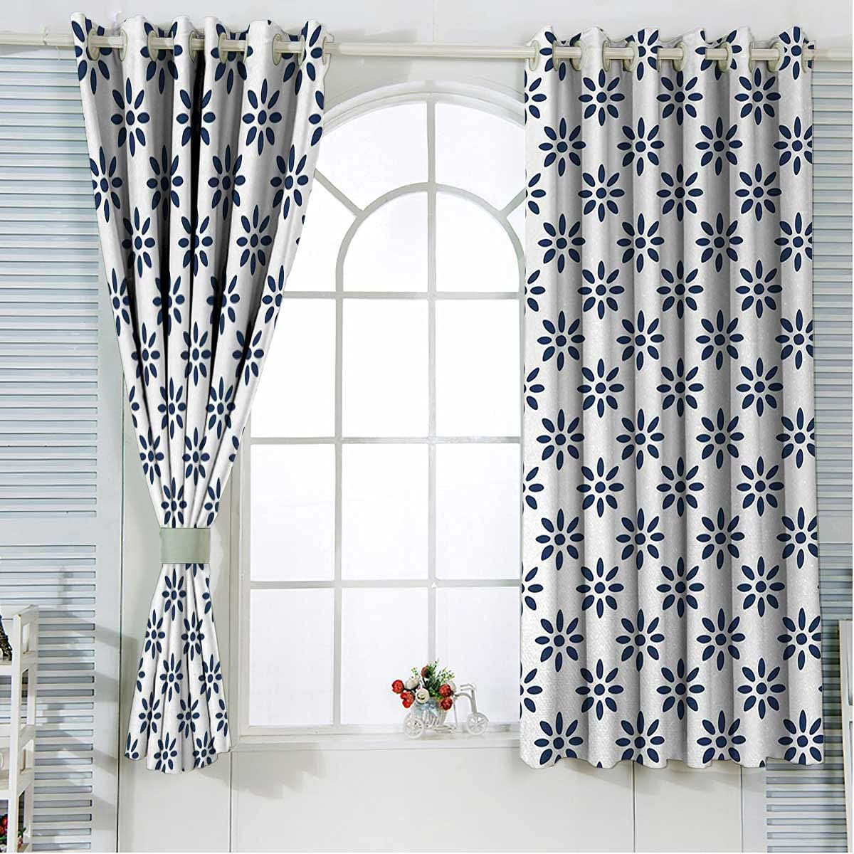 Floral Small Challenge the lowest price of Japan Curtains Max 90% OFF for Windows 63 White Indigo Length Inches