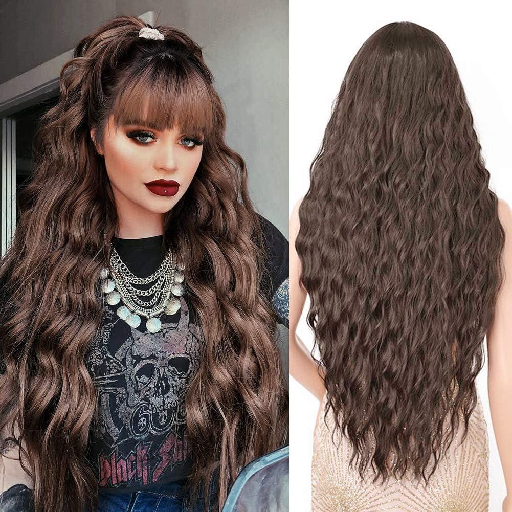 Pelucas Marrón oscuro larga mujer con flequillo pelo natural largo ondulada, YEESHEDO peluca de pelo largo suelto y rizada, wavy dark brown wig para mujeres y niñas 28
