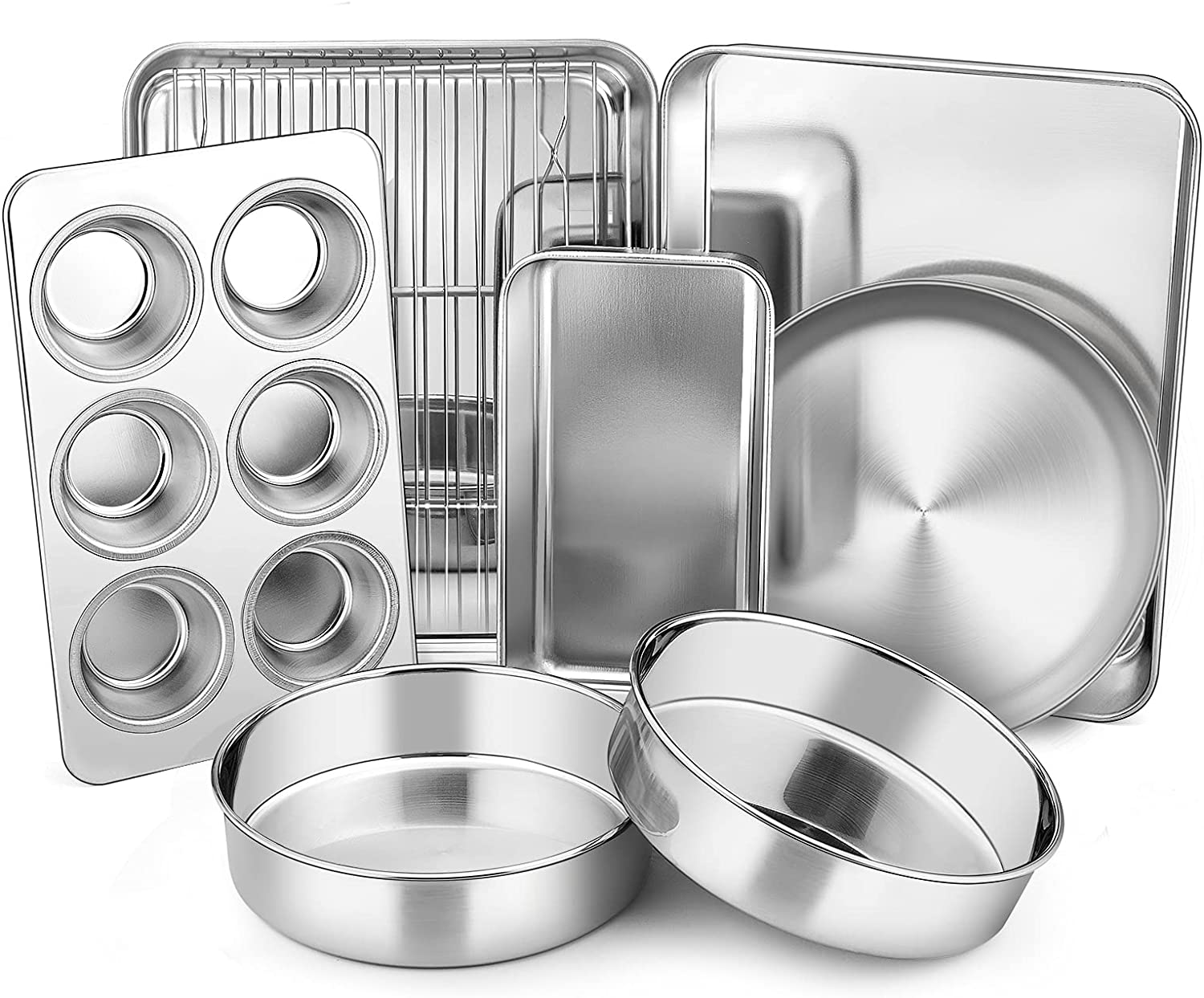 Toaster Oven Bakeware Set, E-far 8-Piece Stainless Steel Small Baking Pan Set, Include 6-Inch Cake Pan/Rectangle Baking Pan/Cookie Sheet with Rack/Muffin/Loaf/Pizza Pan, Non-Toxic & Dishwasher Safe