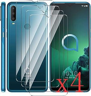 HYMY 4 Pack skärmskydd för Alcatel 3X 2019 - Transparent [Scratch-Resistant] [No-Bubble] [High Responsive] Screen Protecto...