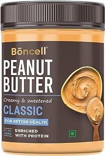 Boncell High Protein Classic Peanut Butter Creamy 450 G | Sweetened | 100% Non-GMO | Gluten-Free | Vegan