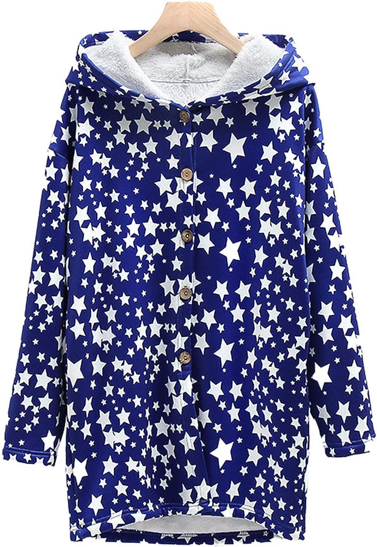 TARIENDY Winter Jackets for Women Fleece Lined Warm Trench Coat Cute Star Print Outwear Hooded Long Blue Windbreaker