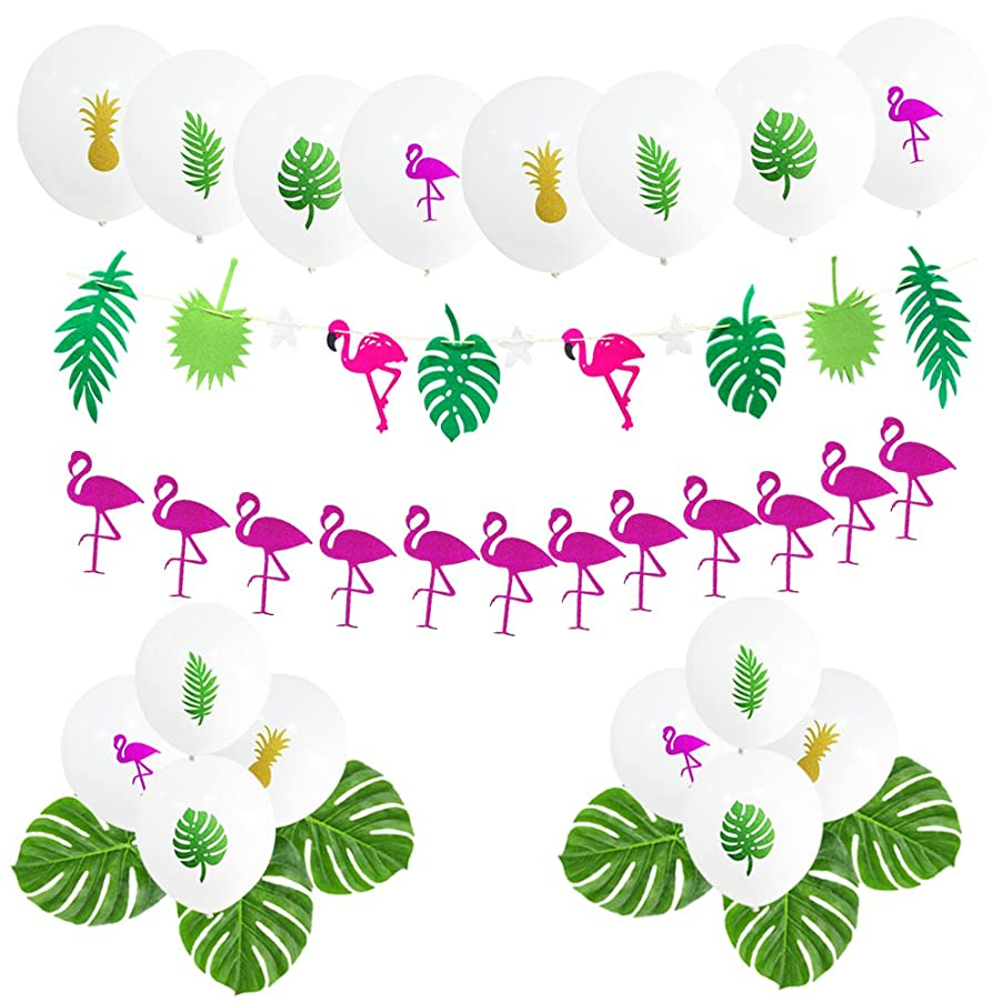 Hawaii Flamingo Tropical Themed Party Supplies, 16 PCS 12