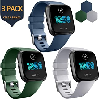 AK Bands Compatible with Fitbit Versa Bands (3 Pack), Soft Replacement Wristband Sports Waterproof Strap for Fitbit Versa Smart Watch Women Men