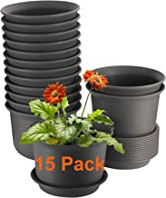 15 Pack Plant Pots, ZOUTOG 6 inches Plastic Planters with Drainage Hole and Tray, Plants Not Included, Brown