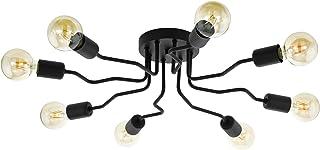 EGLO Orazio - Lámpara de techo (8 focos, acero, casquillo E27, diámetro de 69 cm), color negro