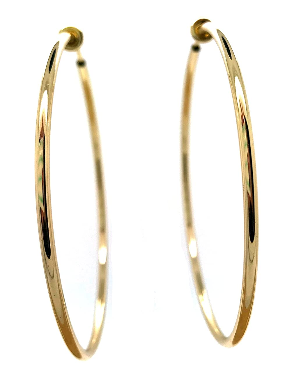 Gold-Tone Plated Brass Spring Hoops Earrings Clip On-Small, Medium & Large Hoops for Women, Unpierced