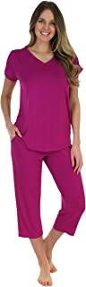Pajama Heaven Women's Sleepwear Bamboo Jersey V-Neck and Capri Pajama PJ Set