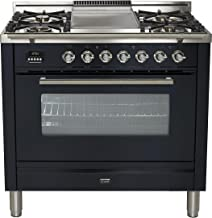 Ilve UPW90FDMPM Pro Series 36 inch. Dual Fuel Range Oven Griddle Convection Storage Drawer Matte Graphite