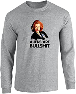 Aliens are Bullshit Skeptical Agent Sport Grey L Long Sleeve T-Shirt