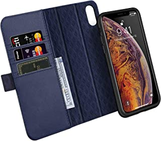ZOVER Detachable Wallet Case Compatible with iPhone Xs Max with Auto Sleep/Wake Kickstand Feature RFID Blocking Genuine Leather Cards Bison Fone Slots Magnetic Clasps Gift Box Navy Blue