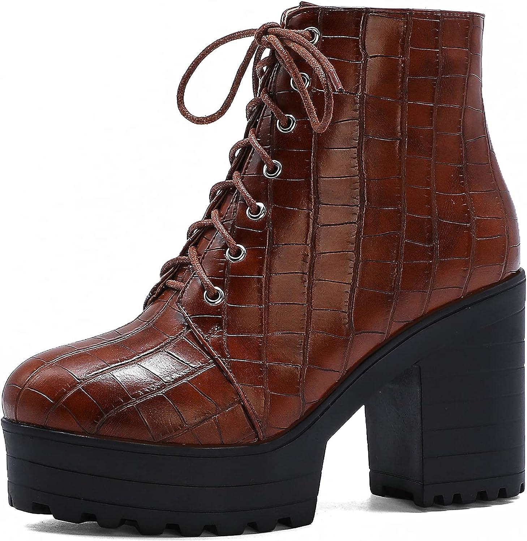CYNLLIO Women's Platform Boots Lace-up online shopping High Heel Got Black cheap