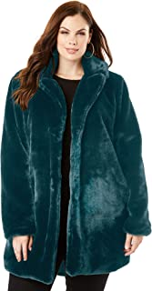 Women's Plus Size Notch Faux-Fur Coat