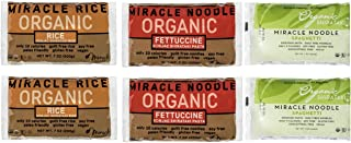 Miracle Noodle Organic Shiritaki Konjac Pasta Rice Variety Pack, 7 oz (Pack of 6), Spaghetti, Fettuccine, Rice, Low Carbs, Low Calorie, Gluten Free, Soy Free, Keto Friendly (Packaging May Vary)