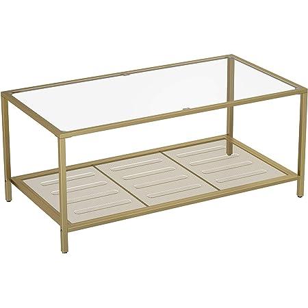 VASAGLE Table Basse, Table de Salon, avec Dessus en Verre, étagère en Maille, Cadre en métal, Stable, pour Salon, Doré et Transparent LGT031A01